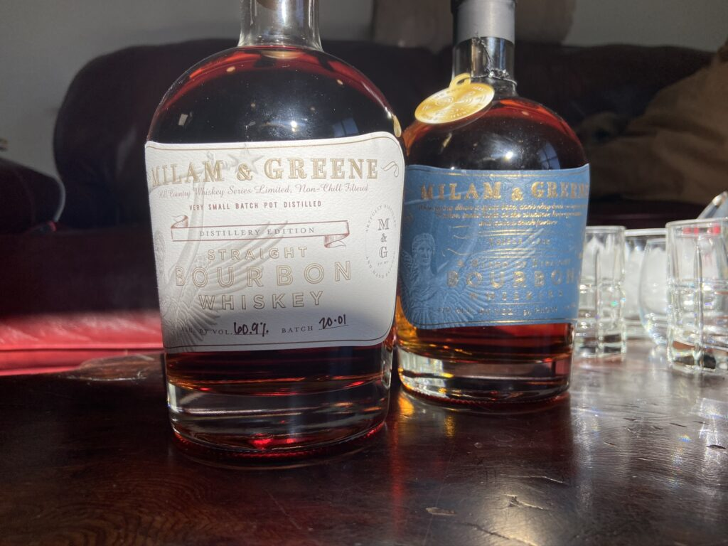 Preparing to compare Milam and Greene grain to glass Distillery Edition  Straight Bourbon Whiskey and Triple Cask Bourbon