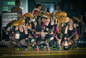 The Hotrod Honeys take the Texas Rollergirls track