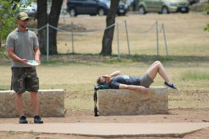 Resting While Playing Disc Golf at Zilker Park in Austin