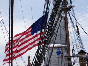 Flag staff on the Eagle U.S. Fleet