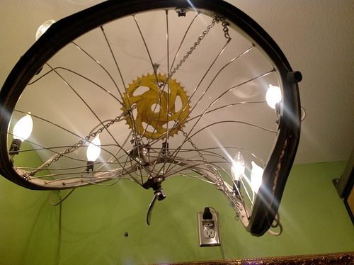 Bouldin Creek Cafe Bicycle Tire Chandelier