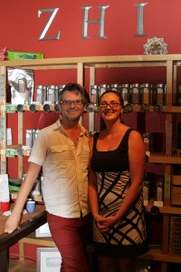 Zhi Tea Founder Jeffrey Lorien with Manager Jessica Evans