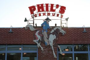 Sign for Phil's Icehouse on Burnet in Austin