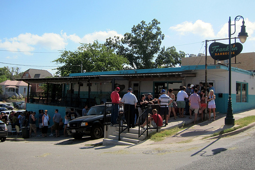 Waiting in line at Franklin Barbecue Austin