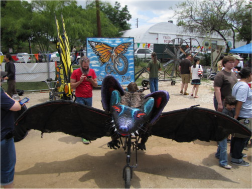 Giant Bat Bicycle at Austin Mini Maker Faire