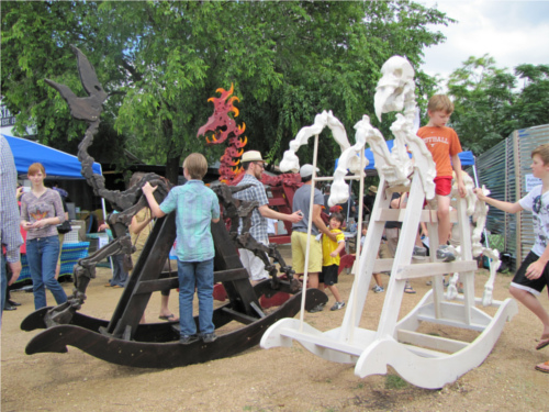 Giant Skeleton Rocking Horses at Austin Mini Maker Faire