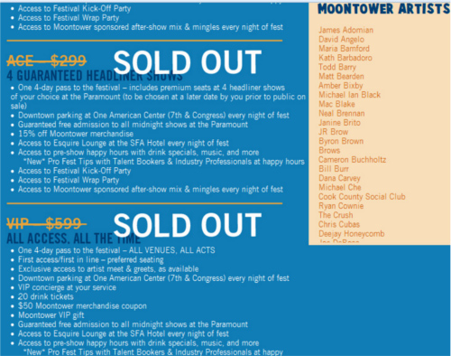 Moontower Comedy Festival Badges Sold Out