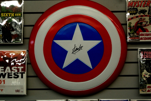 Captain America Shield Signed by Stan Lee in Austin