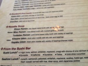 Kome Japanese Menu with Ramen in Austin
