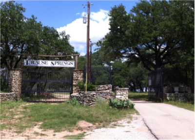 Entrance to Krause Springs in Spicewood, TX