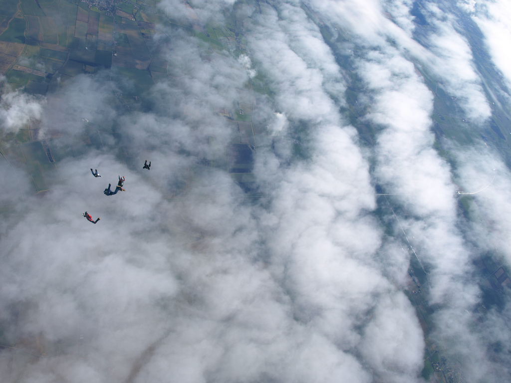 Skydiving Through Clouds at Skydive Temple