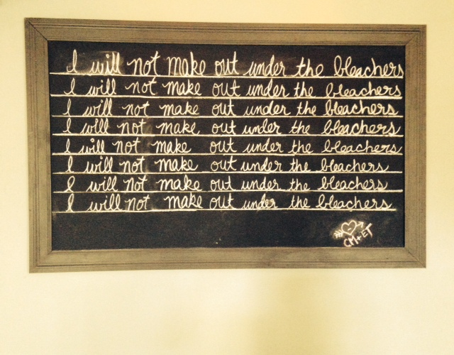 Chalkboard for Misbehavior at School House Pub