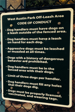 West Austin Dog Park Rules