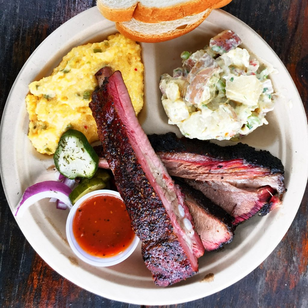 Brisket, Pork Ribs, Jalapeno Cheese Grits, and homemade potato salad
