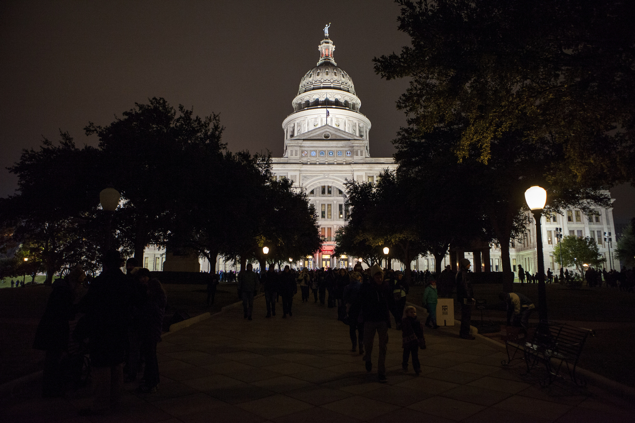 Crowd Gathers at Texas Capitol Building