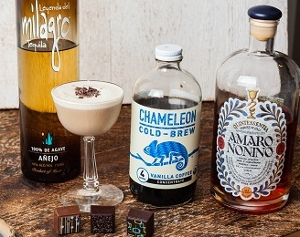 Chameleon's Vanilla Coffee delicately mixed with Milagro and Amaro
