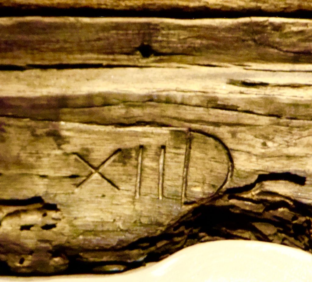 Roman Numerals on La Belle Shipwreck Timber