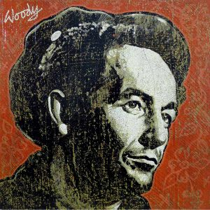 Woody Guthrie painting by Jon Langford