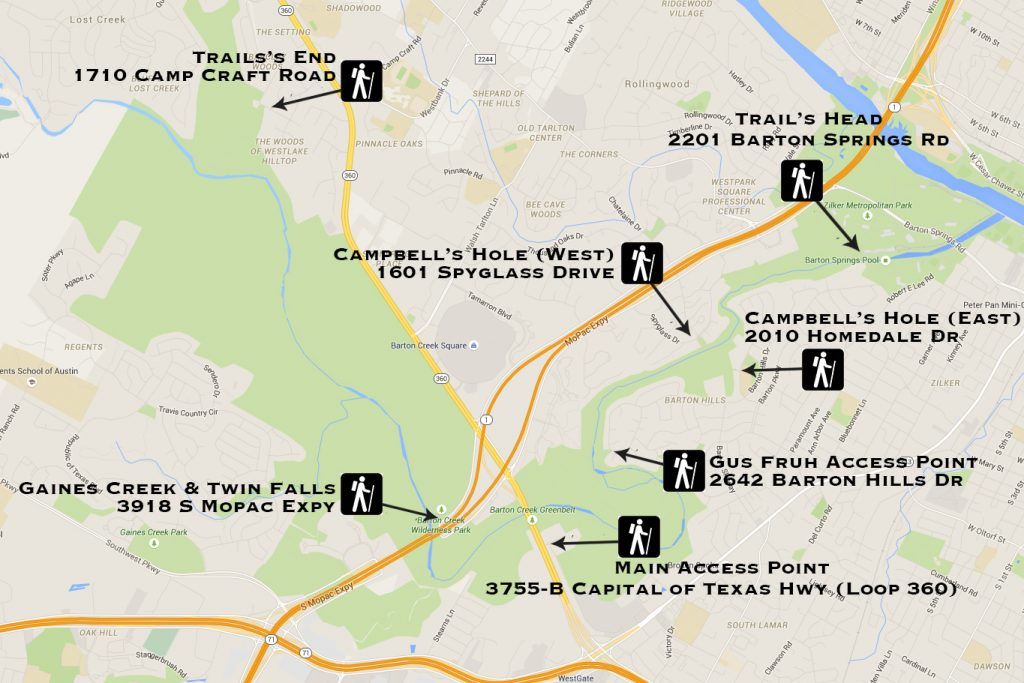 Austin Greenbelt Access Points Map