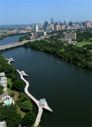 Lady Bird Lake Boardwalk Aerial View