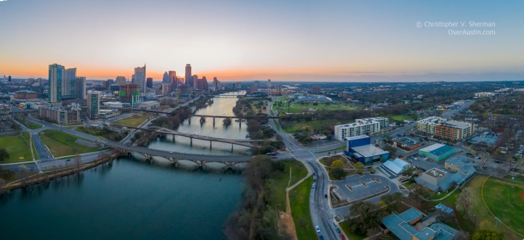 Drone Photo of Downtown Austin and Lady Bird Lake