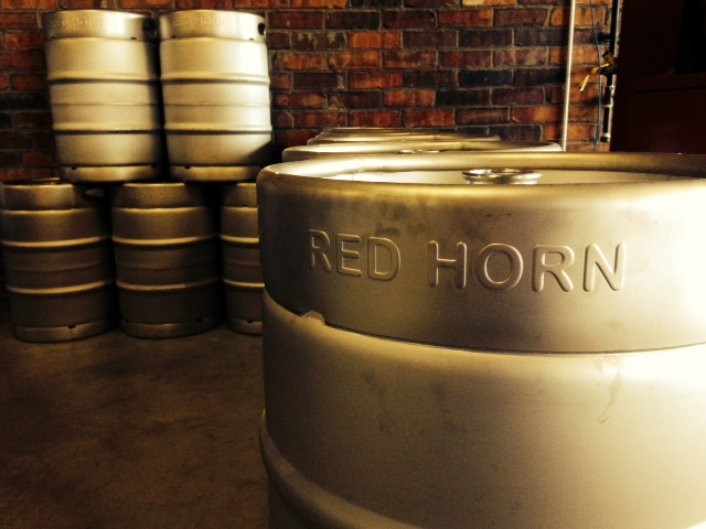 Kegs at Red Horn Coffee House and Brewing Company