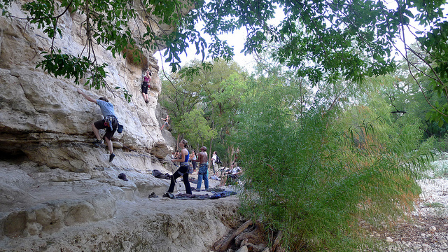 Seismic Wall Rock Climbing at Austin Greenbelt