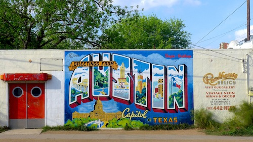 Greetings from Austin Mural at Roadhouse Relics