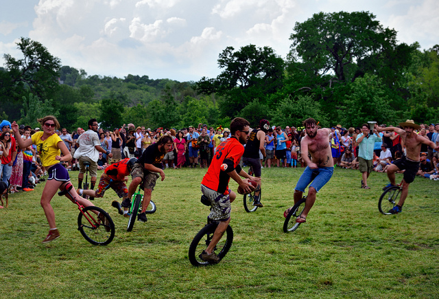 Unicycle Football at Eeyore's Birthday Party
