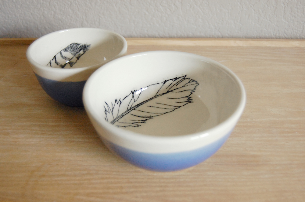 Feather bowl set by jpear design