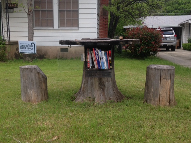 Free Book Lending Library Made Out Of Tree Stump Table