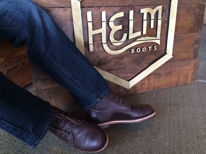 Handcrafted bison leather boots.