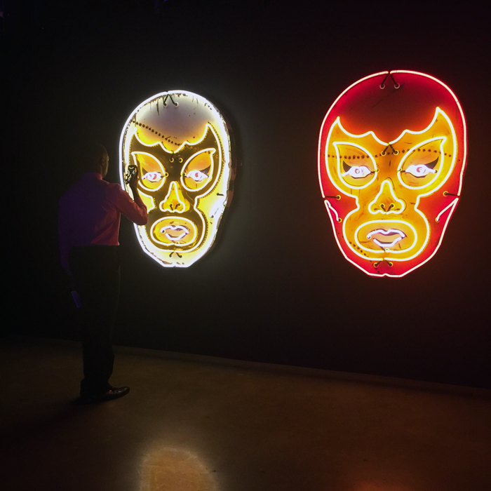 White Luchador and Red Luchador by Todd Sanders