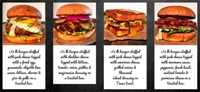 A few Your Mom's burger options