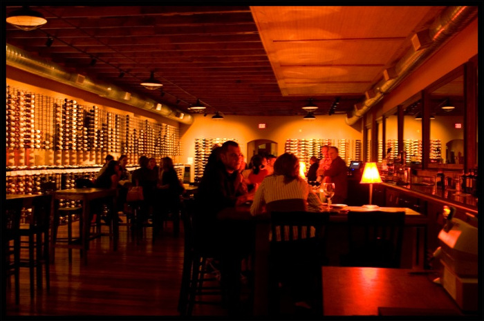 Low Lit Interior of Vino Vino