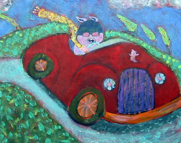 Potbelly Pig Painting by Aralyn Hughes