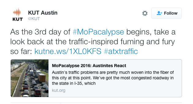 Screenshot of Twitter post about MoPac traffic woes.