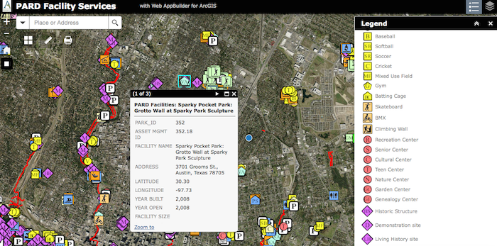 Austin Parks and Recreation Department's interactive map of Sparky Pocket Park