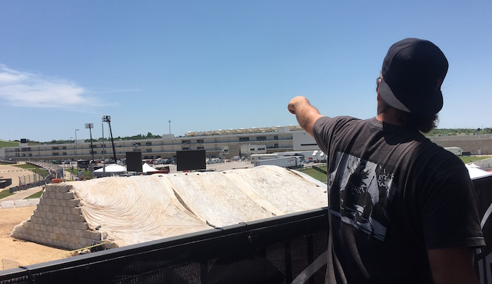 Rich Bigge points toward COTA to show changes in X Games Austin venue.