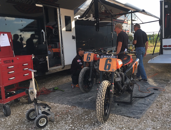 Brad Baker's Harley-Davidson in the pit area before X Games Austin Flat-Track Racing