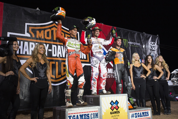 Medal winners in Flat-Track Racing at X Games Austin 2016.