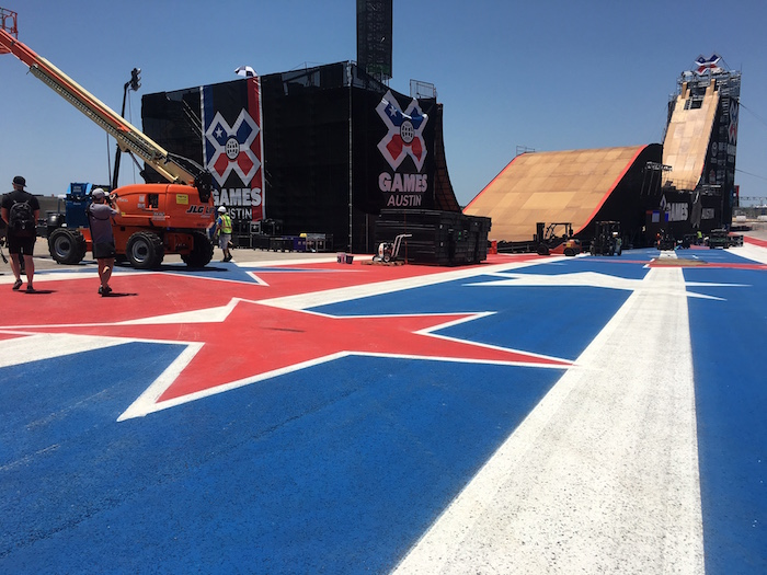 Building the Big Air ramp for X Games Austin 2016 on the COTA track.