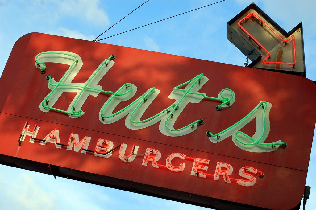 Hut's Hamburgers Neon Sign in Austin
