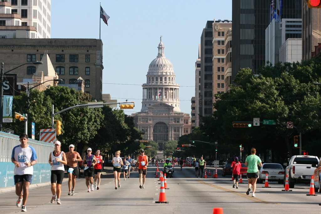 Austin Marathon Runners on Congress Avenue
