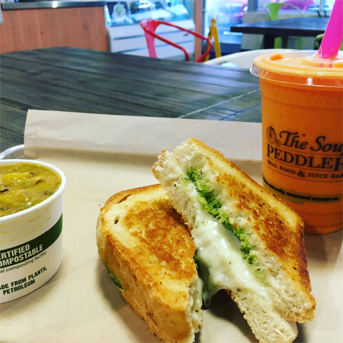 Mulligatawny soup, grilled cheese sandwich, and juice at The Soup Peddler
