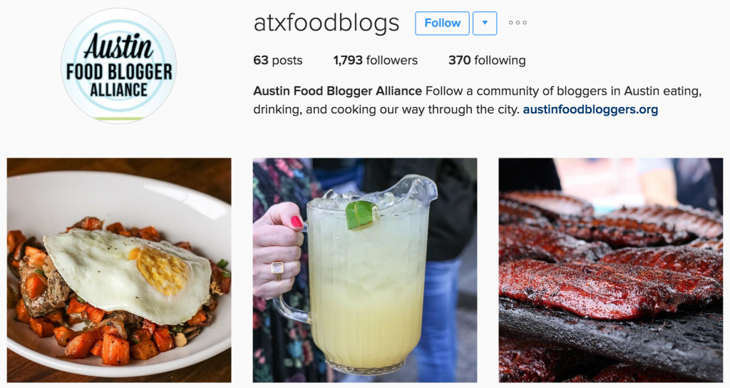 Austin Food Bloggers Alliance Instagram