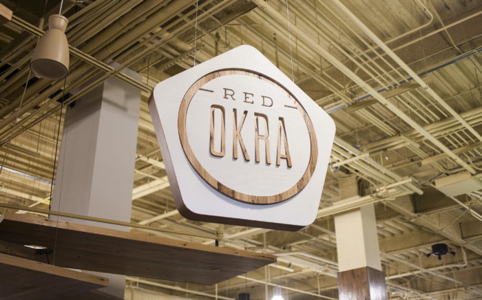 Red Okra Sign in Whole Foods