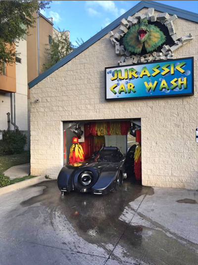 Jurassic car wash animatronic dinos scented foam and photo ops batmobile austin solutioingenieria Images