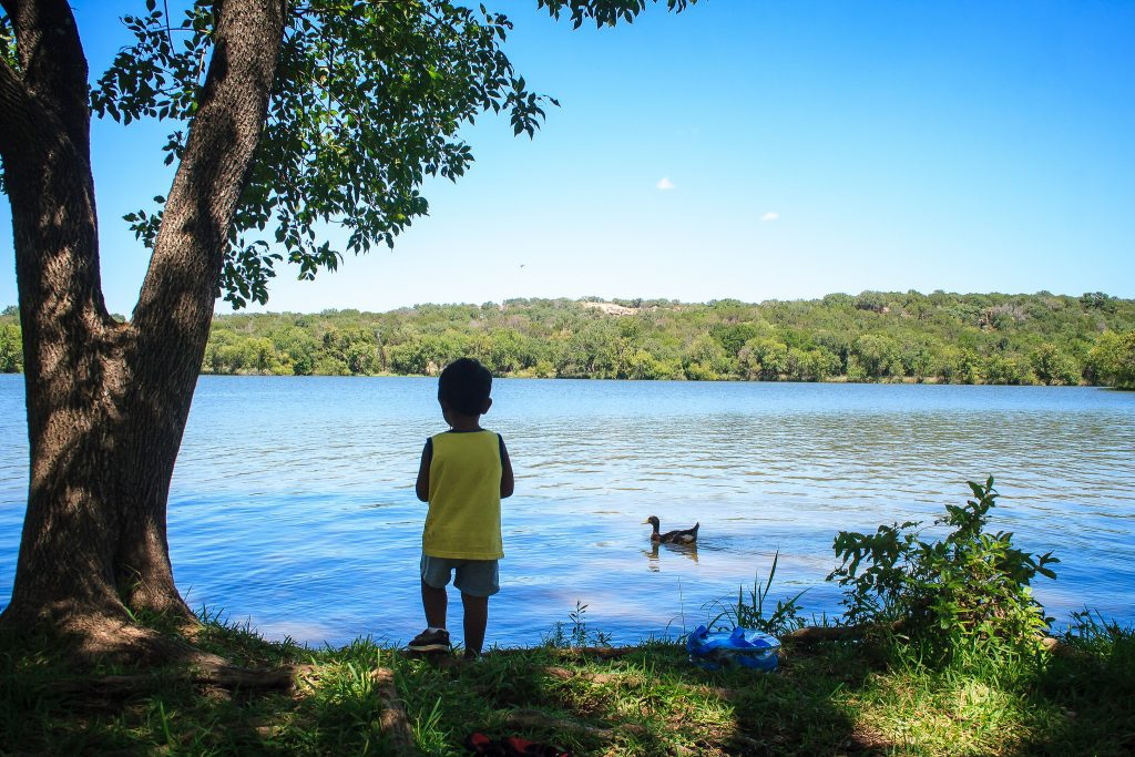 young fisherman at Inks Lake State Park