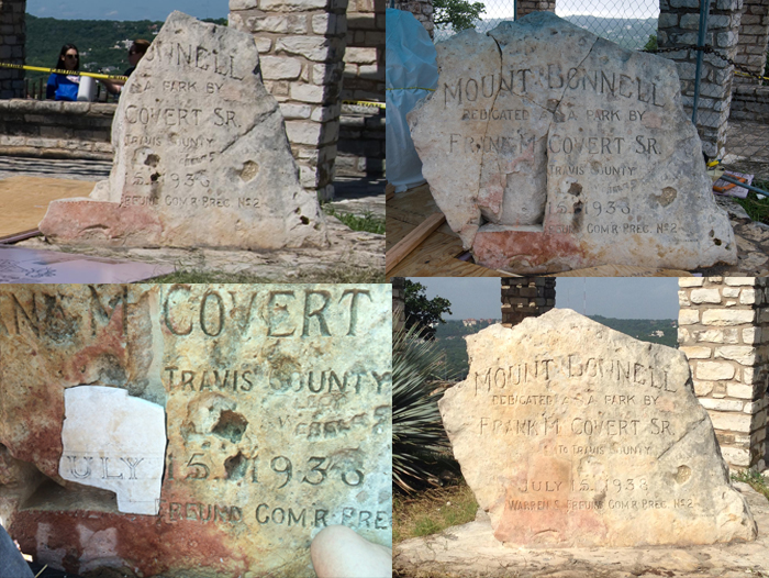 repairing the Frank Covert monument at Mount Bonnell